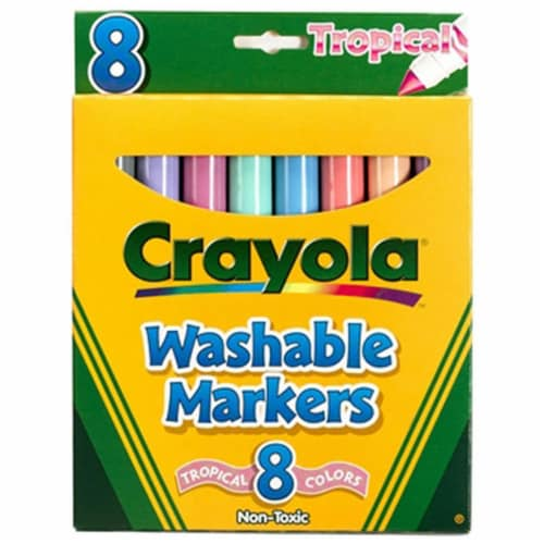 Crayola Llc Formerly Binney & Smith Bin7816 Washable Markers Tropical Conical 8-8Pk Perspective: front