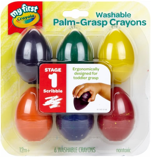My First Crayola® Washable Palm Grasp Crayons, 6 Count Perspective: front