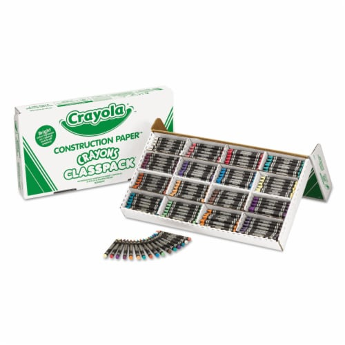 Crayola. 521617 Construction Paper Crayons  Wax  25 Each of 16 Colors  400/Box Perspective: front