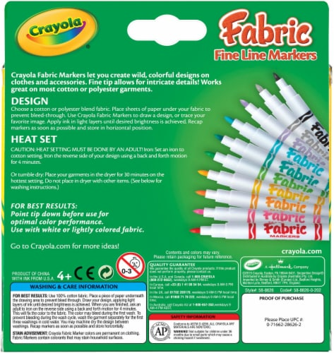 Crayola Fine Line Fabric Markers-10/Pkg Perspective: front