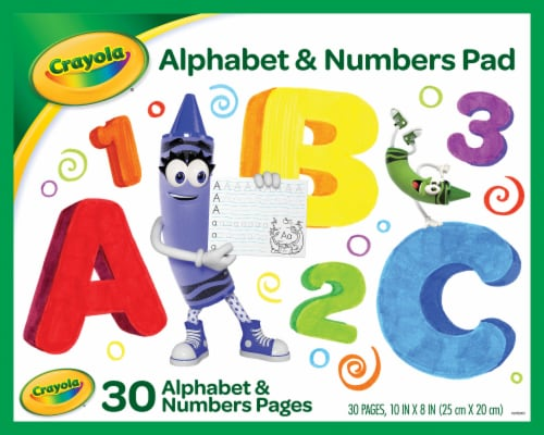 Crayola Alphabet & Numbers 30-Page Ruled Tablet Perspective: front