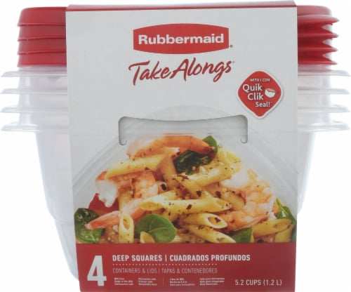 Rubbermaid TakeAlongs Deep Square Food Storage Containers - 4 Pack - Clear/Red Perspective: front