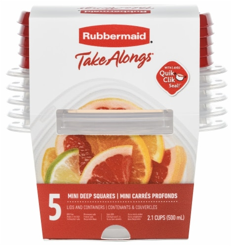 Rubbermaid TakeAlongs Mini Deep Square Containers - Clear/Red Perspective: front