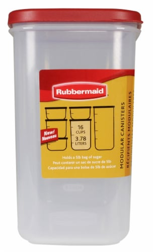 Rubbermaid Modular Canister - Red/Clear Perspective: front