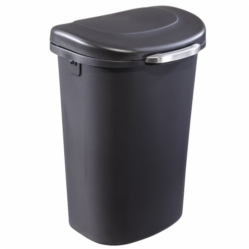 Rubbermaid Touch Top 13 Gallon Plastic Wastebasket Trash Can w/ Lid & Liner Lock Perspective: front
