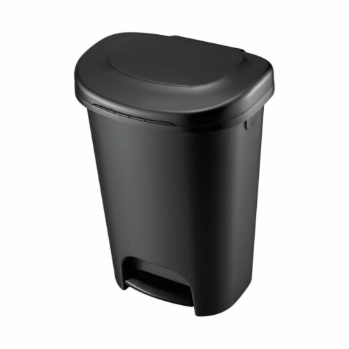 Rubbermaid 6303150 13 gal Step on Wastebasket, Black - Case of 4 Perspective: front