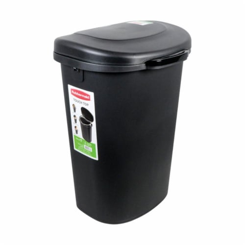 Rubbermaid 6303143 13 gal Touch Top Wastebasket, Black - Case of 4 Perspective: front