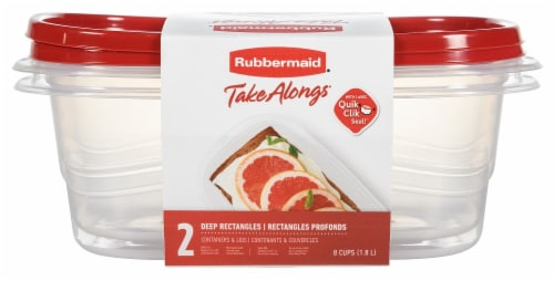 Rubbermaid TakeAlongs Deep Rectangle Food Storage Containers - Clear/Red - 2 Pack Perspective: front