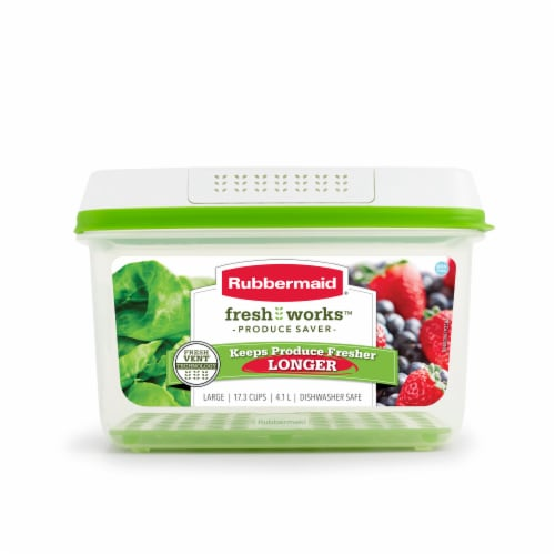 Rubbermaid Fresh Works Produce Saver Food Container - Clear/Green Perspective: front