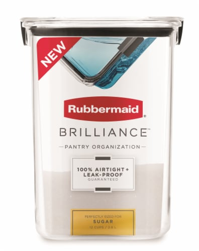 Rubbermaid Brilliance Pantry Organization Sugar Container - Clear Perspective: front