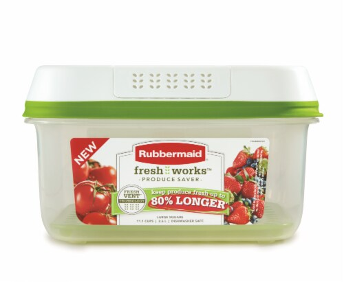 Rubbermaid FreshWorks Produce Saver Large Square Container - Clear/Green Perspective: front