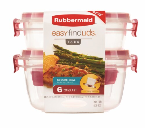 Rubbermaid Easy Find Lids Container Set - Red/Clear Perspective: front