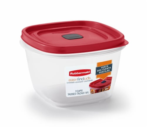 Rubbermaid Easy Find Lids Vented Food Container - Clear/Red Perspective: front
