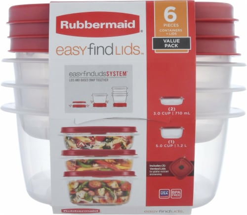 Rubbermaid Easy Find Lids Food Storage Containers - Clear/Red Perspective: front