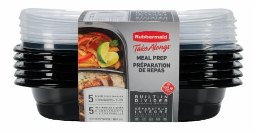 Rubbermaid Take Alongs Meal Prep Containers with Lids - Black/Clear Perspective: front