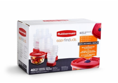 Rubbermaid Easy Find Lids with Containers 40 Pack -  Clear/Red Perspective: front