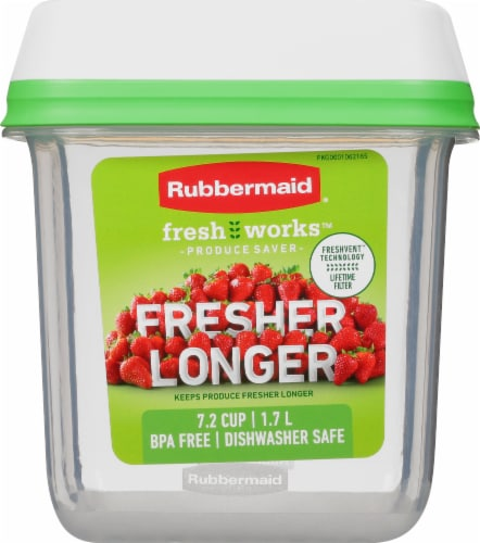Rubbermaid® FreshWorks™ Medium Green Produce Saver Container Perspective: front