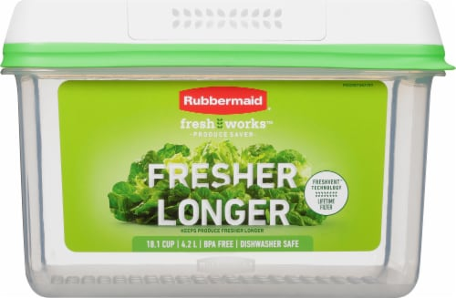 Rubbermaid Freshworks Large Produce Saver Container - Green Perspective: front