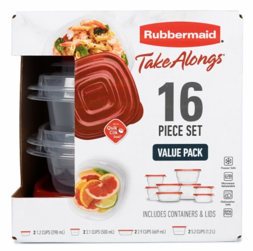 Rubbermaid® Take Alongs Food Storage Container Set - Clear/Ruby Perspective: front