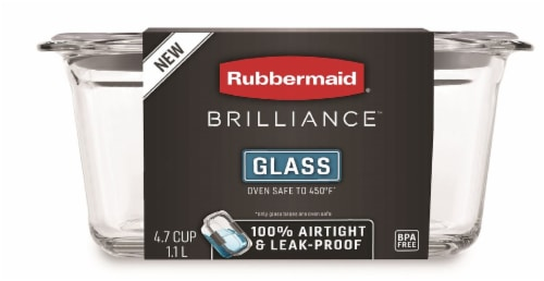 Rubbermaid Brilliance Glass Rectangular Food Storage Container - Clear Perspective: front