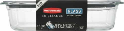 Rubbermaid® Brilliance Glass Rectangular Food Storage Container - Clear Perspective: front