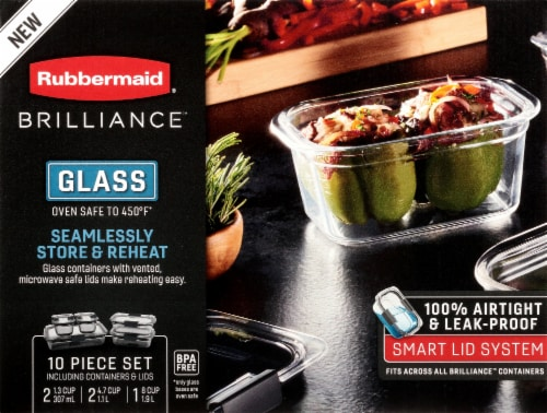 Rubbermaid Brilliance Glass Storage Container Set Perspective: front