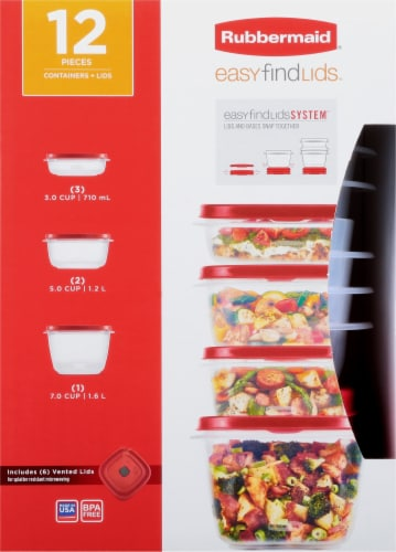 Rubbermaid Easy Find Lids Set - Clear/Red Perspective: front