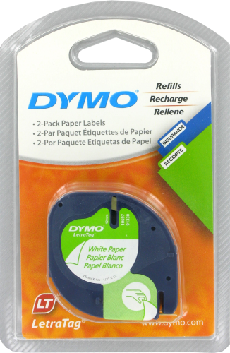 Dymo Paper Label Tape - 2 Pack - White Perspective: front