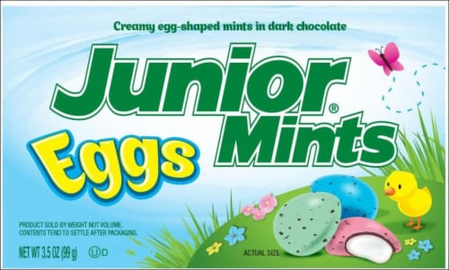 Junior Mints Creamy Egg-shaped Mints in Dark Chocolate Perspective: front