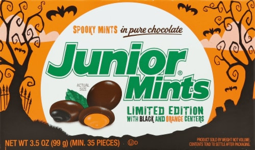 Junior Mints Halloween Candy Perspective: front