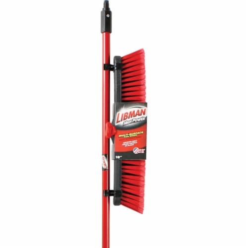 Libman® Multi-Surface Push Broom - Red - 18 Inch Perspective: front