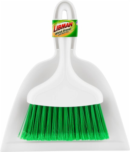Libman® Whisk Broom and Dust Pan - White/Green Perspective: front