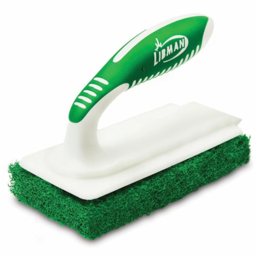 Libman® Tile and Tub Scrub Brush - White/Green Perspective: front