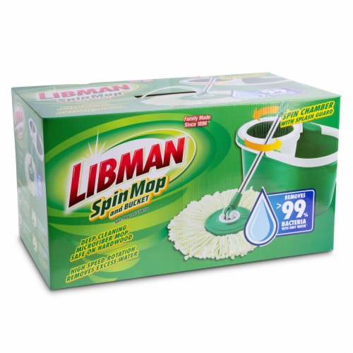 Libman® Spin Mop and Bucket - Green/White Perspective: front