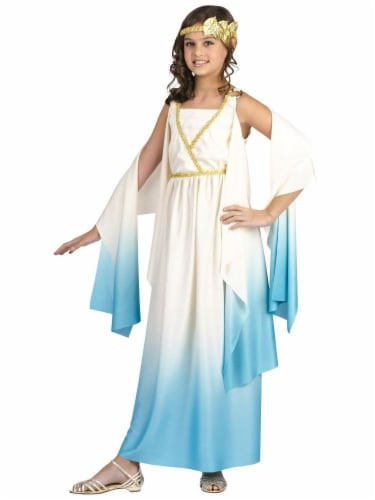 Fun World Children's Medium (8-10) Greek Goddess Costume - Blue/White Perspective: front