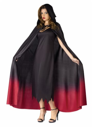Fun World Ombre Hooded Cape -  Black / Burgandy Perspective: front