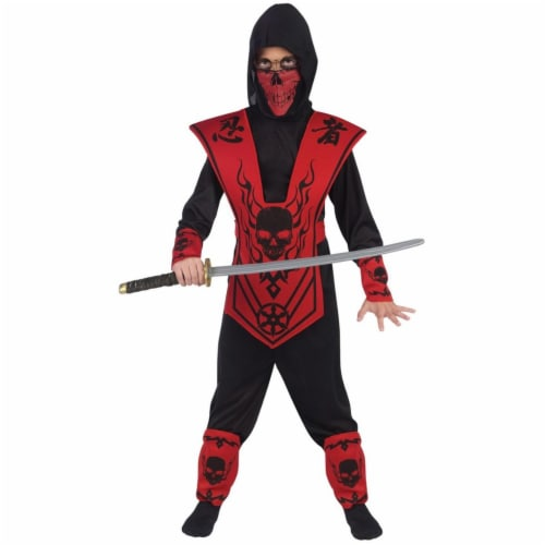 Morris Costumes FW110092SM Childs Ninja Skull Costume, Red & Black - Small Perspective: front