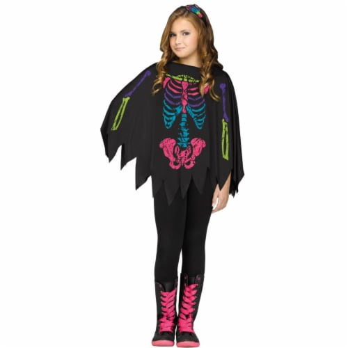 Fun World FW90395C Poncho Skeleton Color Child Up To Costume Perspective: front