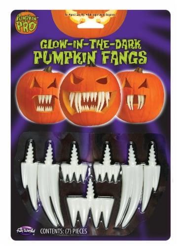 Fun World Pumpkin Pro Glow-in-the-Dark Pumpkin Fangs - White Perspective: front