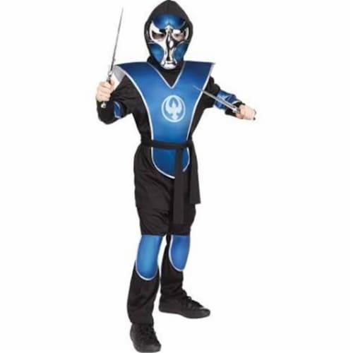 Fun World FW134752BMD Boys Chrome Raven Ninja Child Costume, Blue & Black - Medium 8-10 Perspective: front