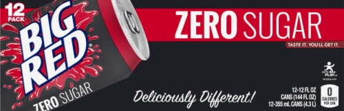 Big Red Zero Soda Perspective: front