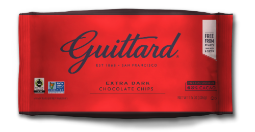 Guittard Extra Dark Chocolate Chips Perspective: front