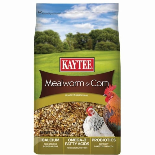 Central - Kaytee Products KT94953 Mealworms & Corn Treat, 3 lbs Perspective: front