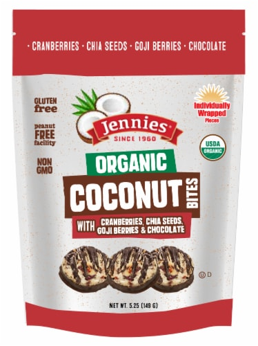 Jennies Organic Coconut Bites with Cranberries Chia Seeds Goji Berries & Chocolate Perspective: front