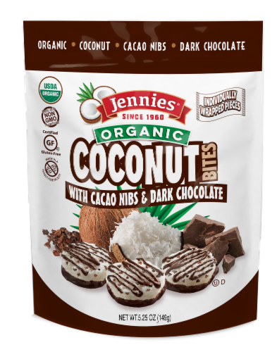 Jennies Organic Coconut Bites with Cacao Nibs & Dark Chocolate Perspective: front