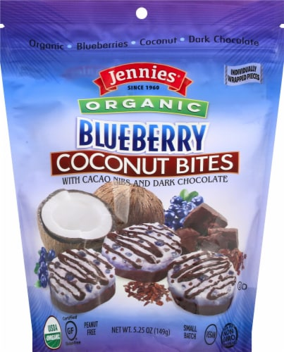 Jennies Organic Wild Blueberry Coconut Bites with Cacao Nibs & Dark Chocolate Perspective: front