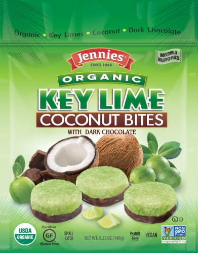 Jennies Organic Key Lime Coconut Bites with Dark Chocolate Perspective: front