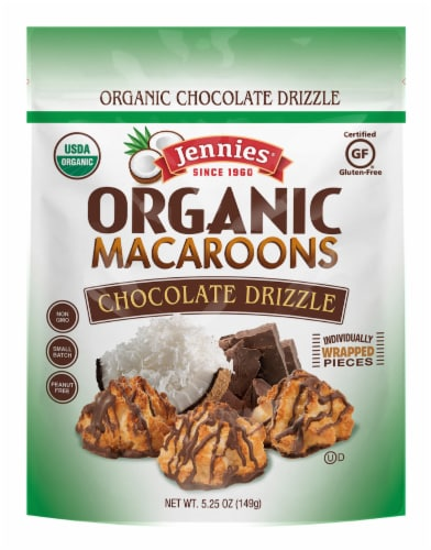 Jennies Organic Chocolate Drizzle Macaroons Perspective: front