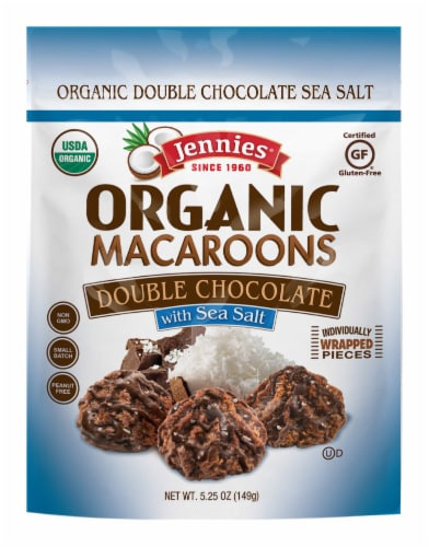 Jennies Organic Double Chocolate Sea Salt Macaroons Perspective: front