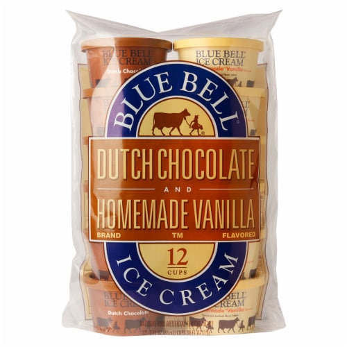Blue Bell Homemade Vanilla and Dutch Chocolate Ice Cream Cups Perspective: front